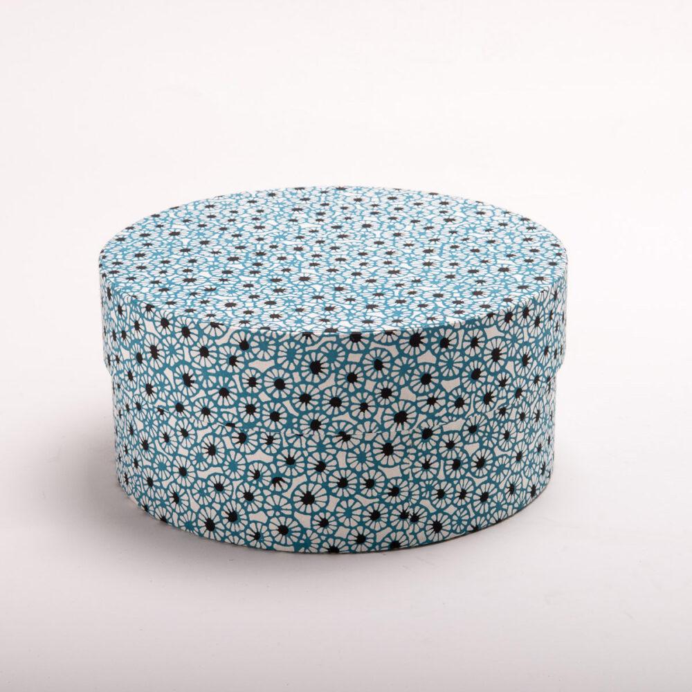Runde Schachtel Motiv Hellblaue Blüte Die Imaginäre Manufaktur
